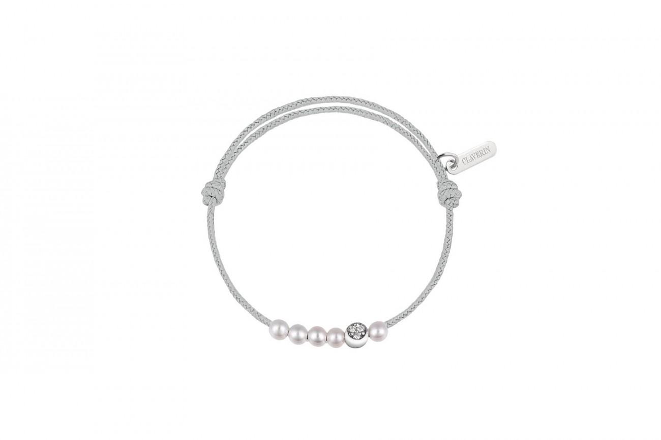 Bracelet 5 Perles Blanches et Demi Lune Diamants Blancs Cordon Gris Perle