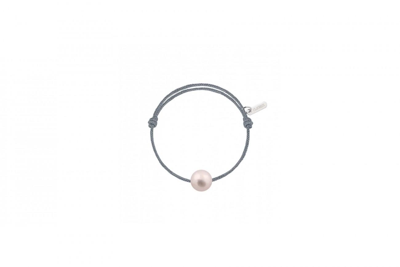 Bracelet Bébé Perle Blanche Cordon Gris Cendré