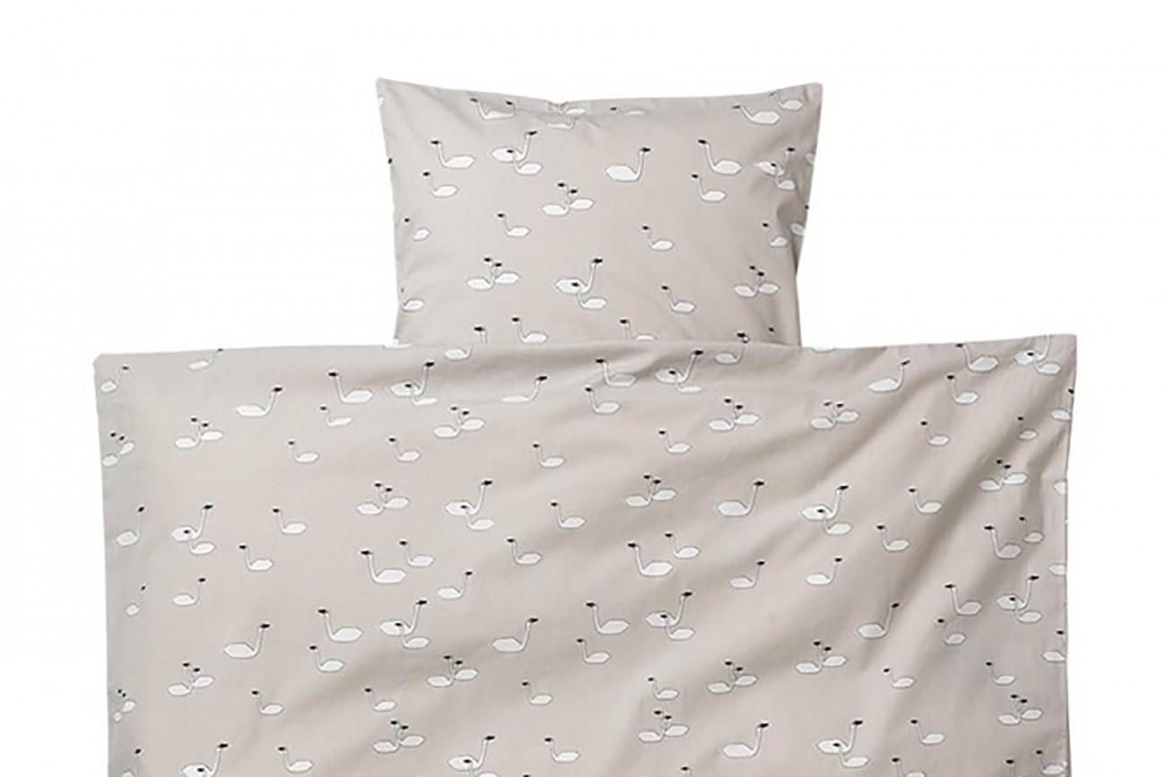 ensemble linge lit b b swan gris. Black Bedroom Furniture Sets. Home Design Ideas