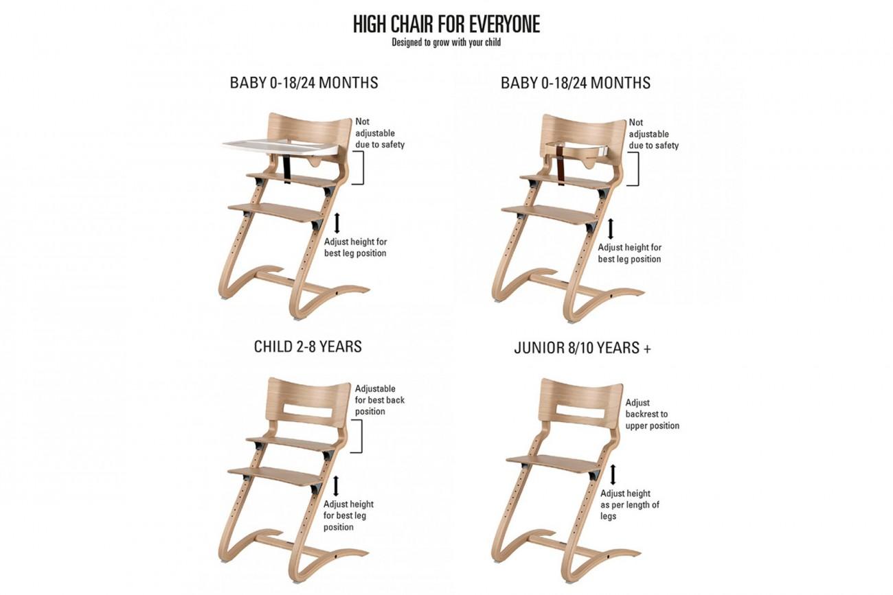 Blanc Chaise Haute Évolutive Chaise Leander YfvIgmb76y