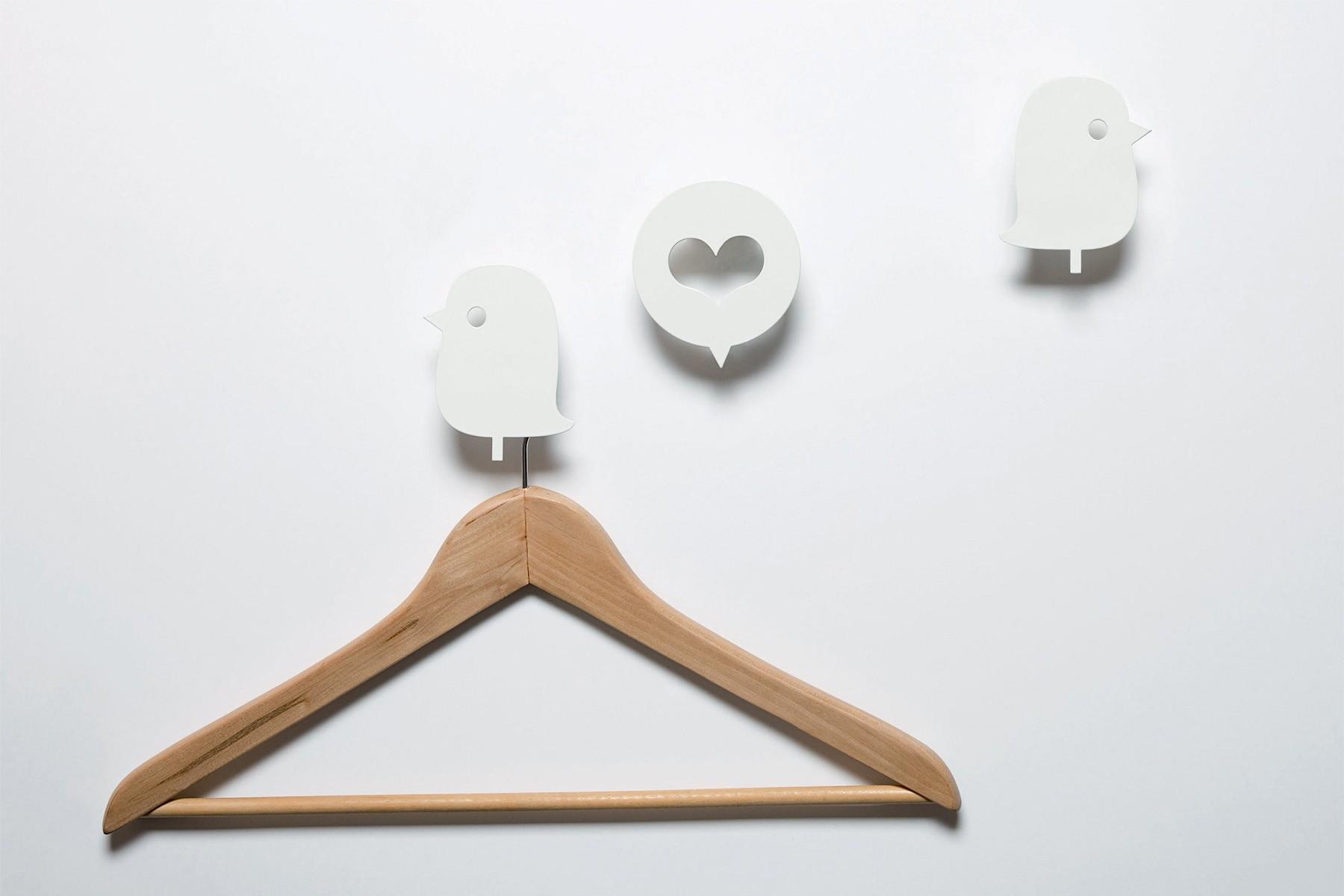 pat re oiseau et coeur blanc set de 3. Black Bedroom Furniture Sets. Home Design Ideas
