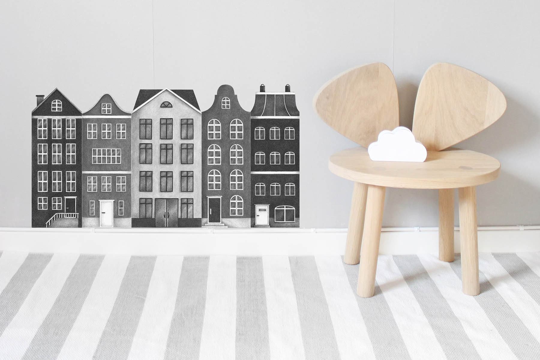 stickers muraux repositionnables les maisons de la ville set 5 stickers. Black Bedroom Furniture Sets. Home Design Ideas