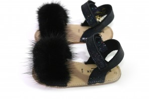 Sandales Fourrure Noir Taille 16-17